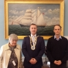 Mayor of the Waterford Metropolitan District Cllr Eamon Quinlan accepts the painting of the 'Melina'