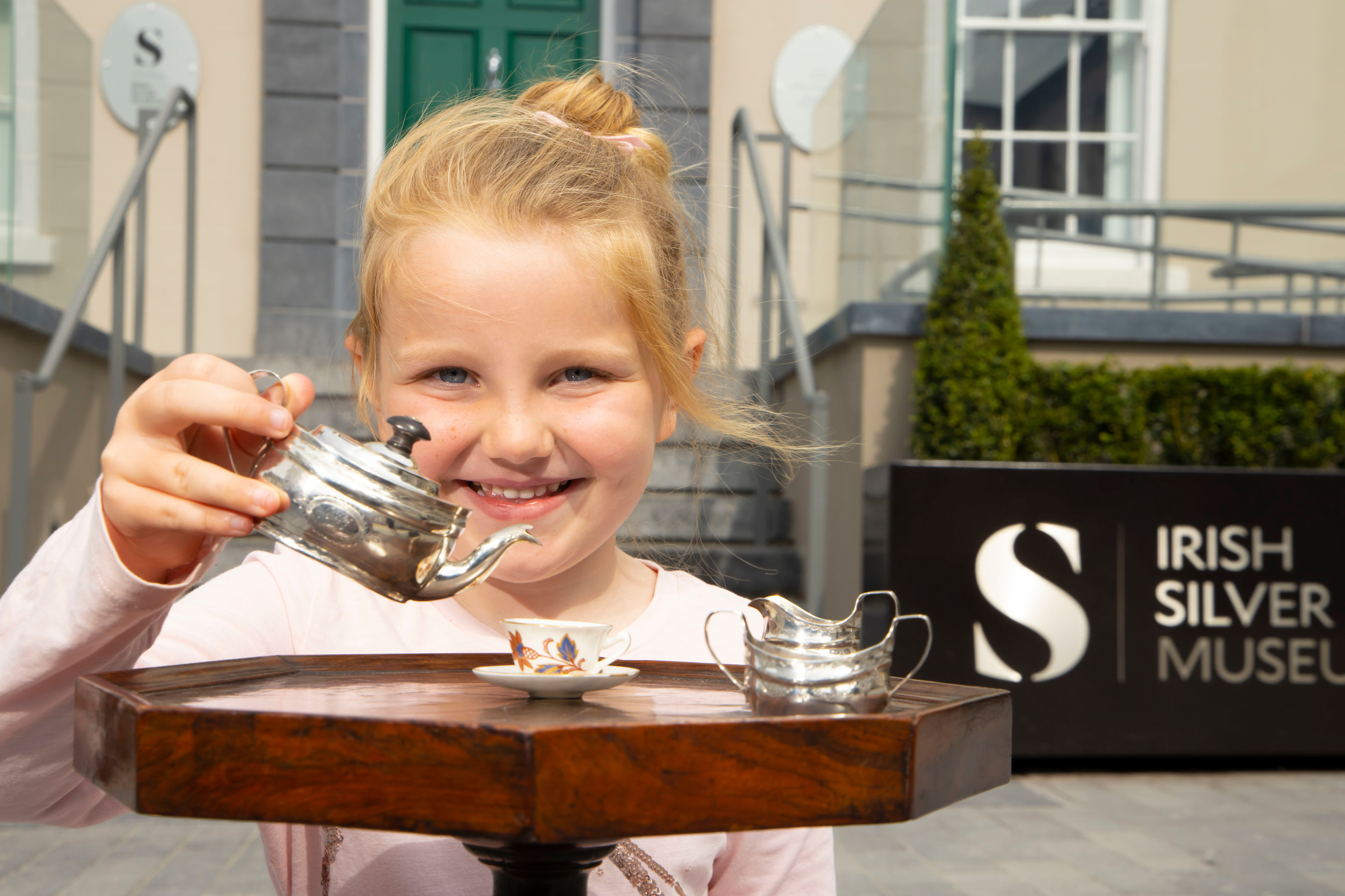Pictured at the spectacular new Irish Silver Museum is the first visitor to the museum, Pearla Harper from Tramore (age 5). The museum is home to one of the largest collections of Irish silver in the world and is officially opened today (June 24th) by Minister for Finance Paschal Donohoe.